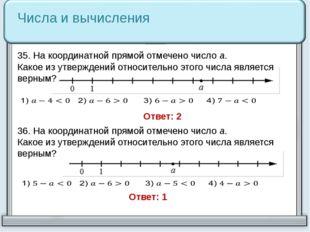 36. На координатной прямой отмечено число a. Какое из утверждений относительн