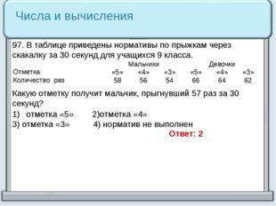 Числа и вычисления 97. В таблице приведены нормативы по прыжкам через скакалк
