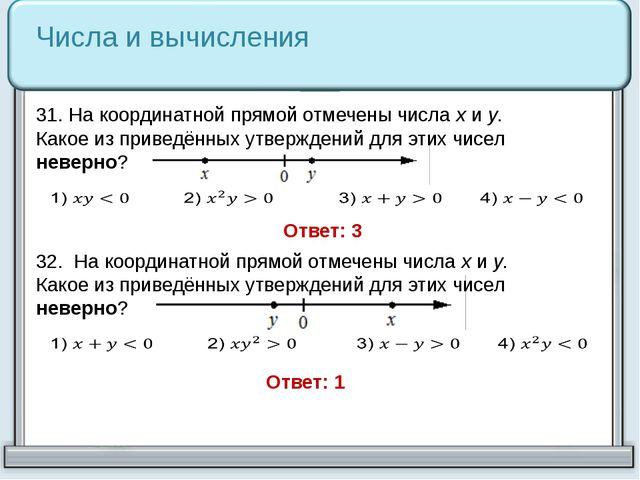 31. На координатной прямой отмечены числа xи y. Какое из приведённых утвержд...