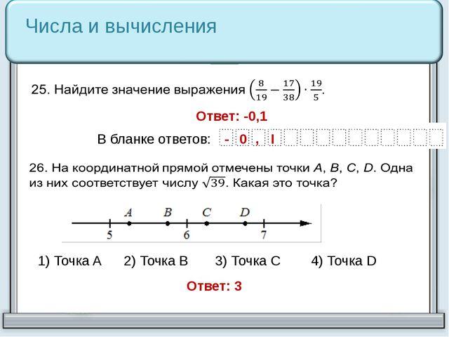 Числа и вычисления 1) Точка A 2) Точка B 3) Точка C 4) Точка D Ответ: -0,1 От...