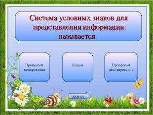 Система условных знаков для представления информации называется Процессом код