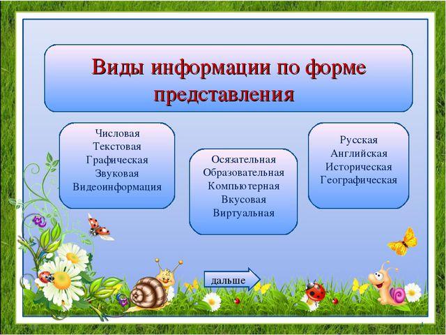 Виды информации по форме представления Числовая Текстовая Графическая Звукова...