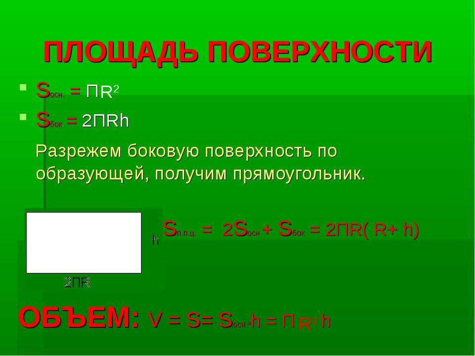 ПЛОЩАДЬ ПОВЕРХНОСТИ Sосн. = П Sбок. = 2ПRh Разрежем боковую поверхность по об...