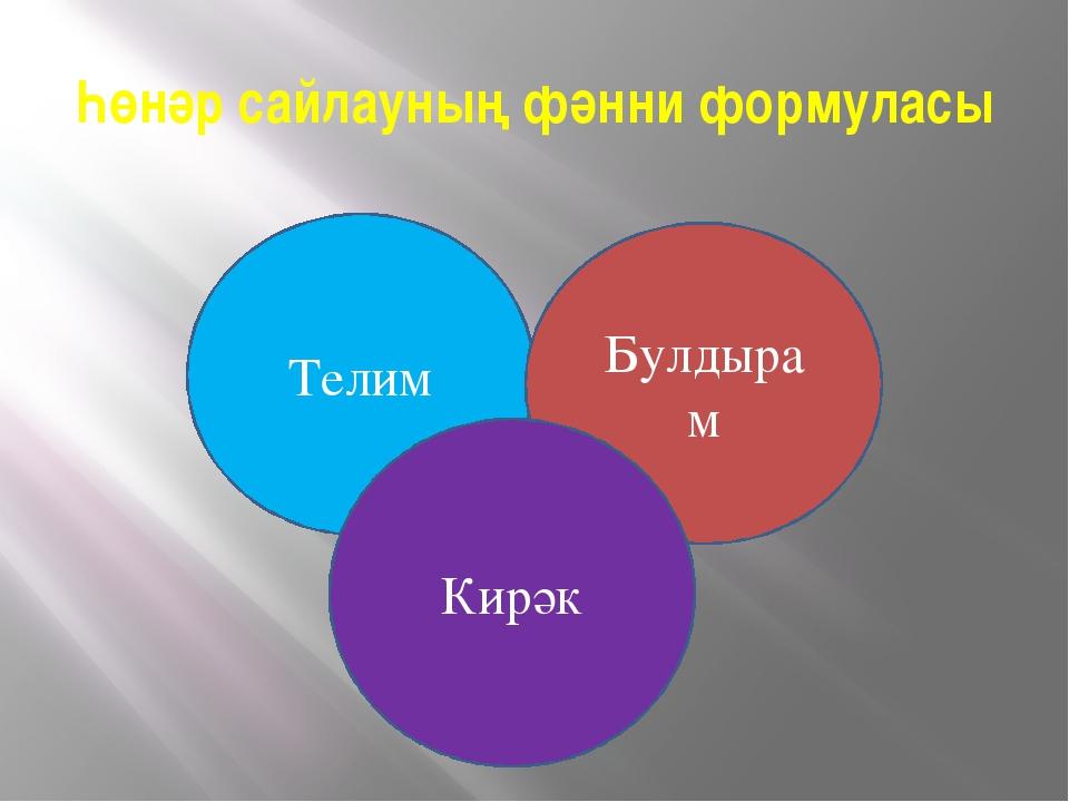 Һөнәр сайлауның фәнни формуласы Телим Булдырам Кирәк