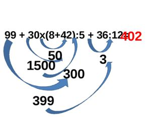 99 + 30х(8+42):5 + 36:12= 1500 3 300 50 399 402
