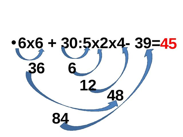 6х6 + 30:5х2х4- 39= 36 12 48 6 84 45