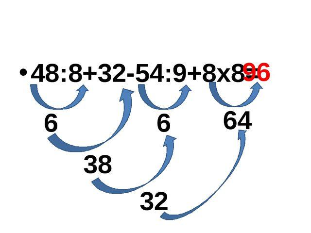48:8+32-54:9+8х8= 6 6 64 38 32 96