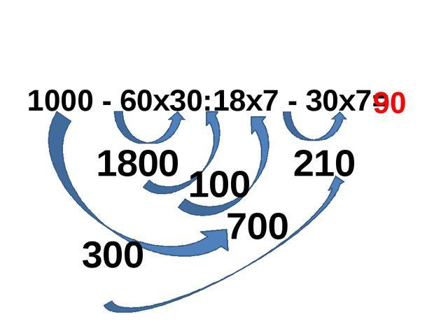 1000 - 60х30:18х7 - 30х7= 1800 300 210 100 700 90