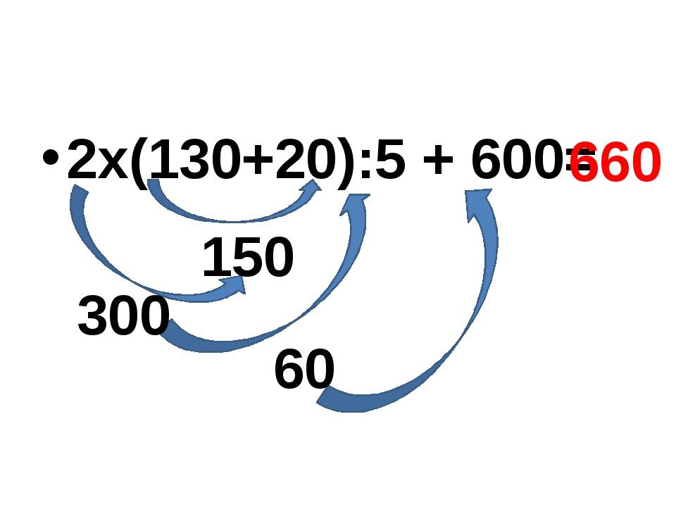 2х(130+20):5 + 600= 150 300 60 660