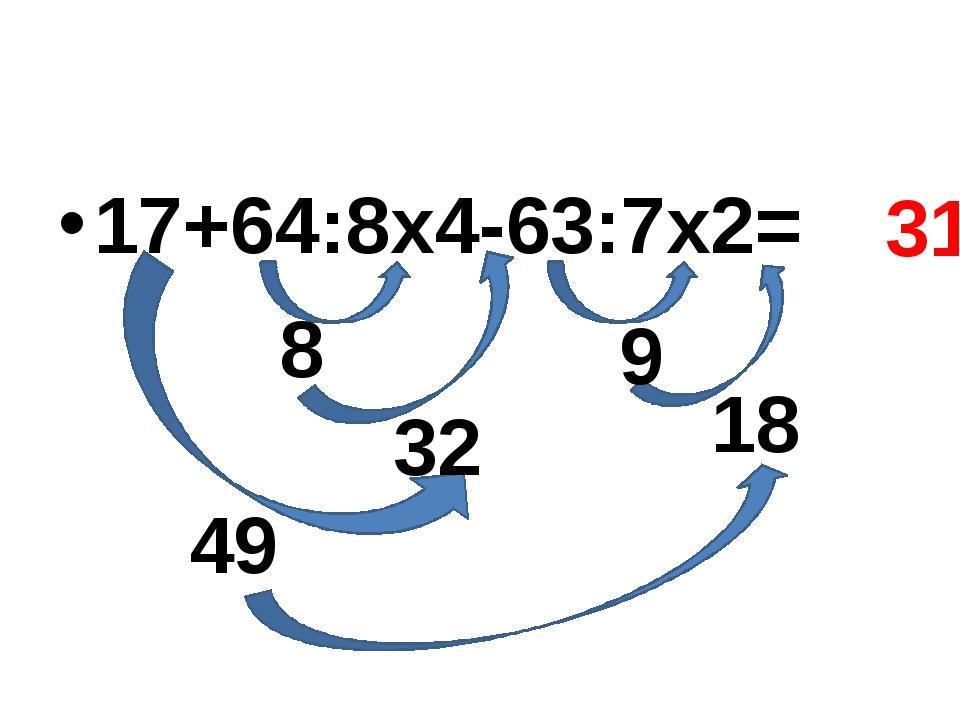 17+64:8х4-63:7х2= 8 18 9 32 49 31