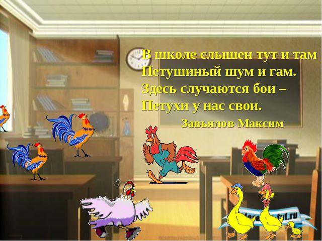 В школе слышен тут и там Петушиный шум и гам. Здесь случаются бои – Петухи у...