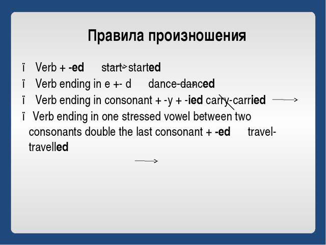 Правила произношения ● Verb + -ed start- started ● Verb ending in e +- d danc...