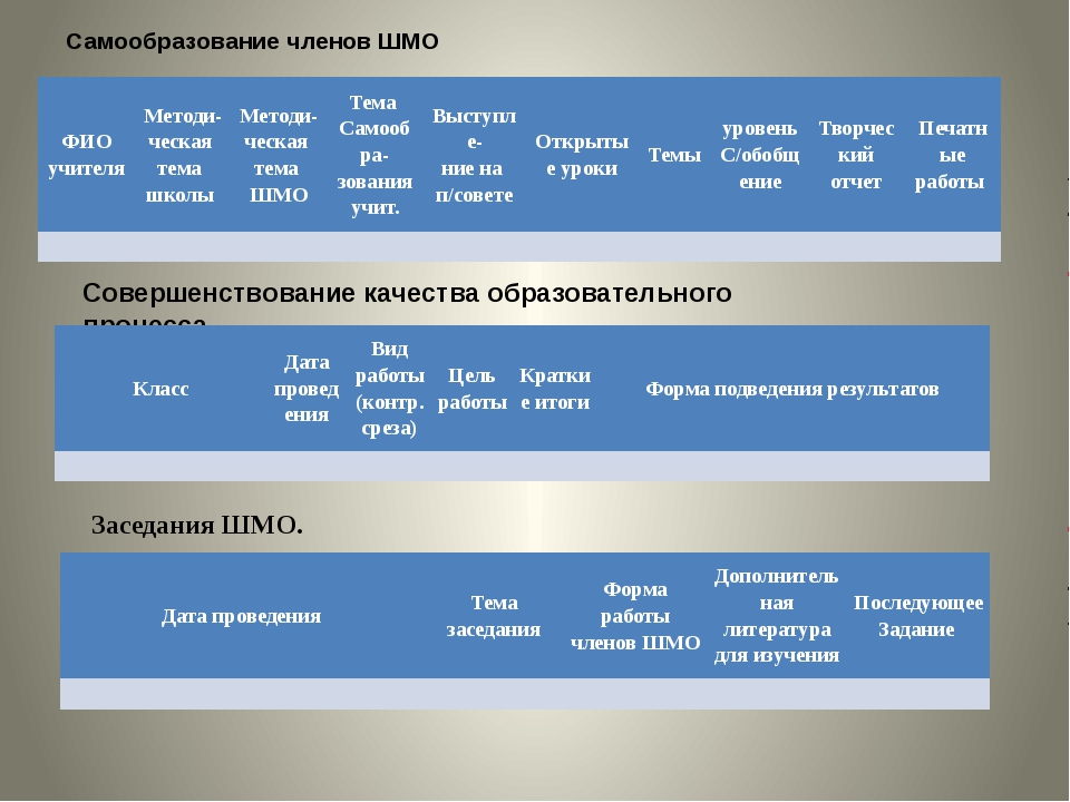 Самообразование членов ШМО Совершенствование качества образовательного процес...