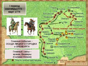 II период апрель – июль 1774 Главное событие – ВЗЯТИЕ КАЗАНИ Главные силы – б