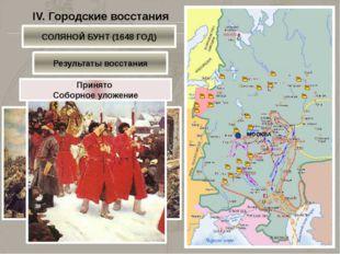IV. Городские восстания ПСКОВСКОЕ и НОВГОРОДСКОЕ ВОССТАНИЕ (1649 ГОД) Псков Н