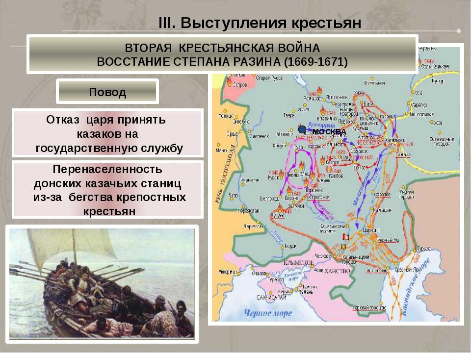 МОСКВА Кагальницкий городок Яицкий городок III. Выступления крестьян ВТОРАЯ...