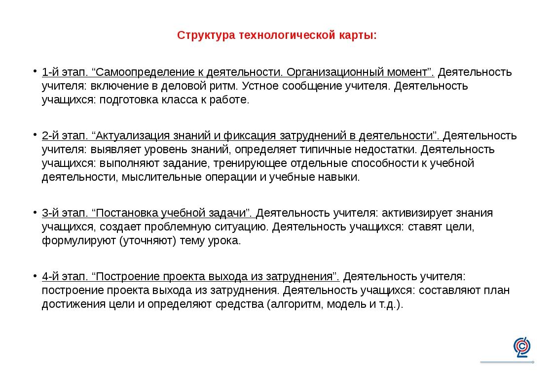 """Структура технологической карты: 1-й этап. """"Самоопределение к деятельности. О..."""