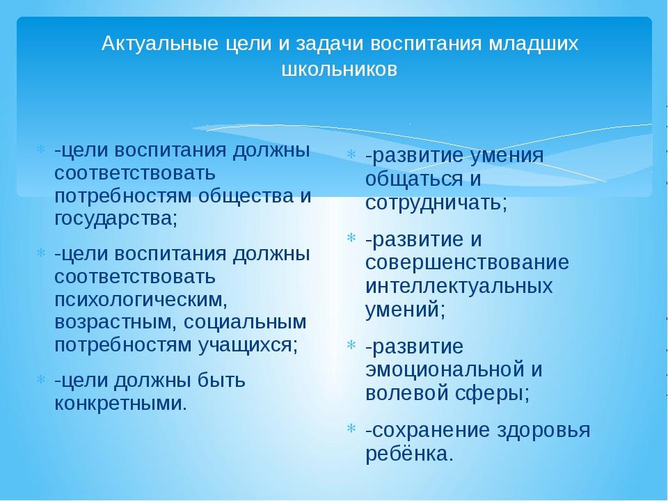 Актуальные цели и задачи воспитания младших школьников -цели воспитания долж...