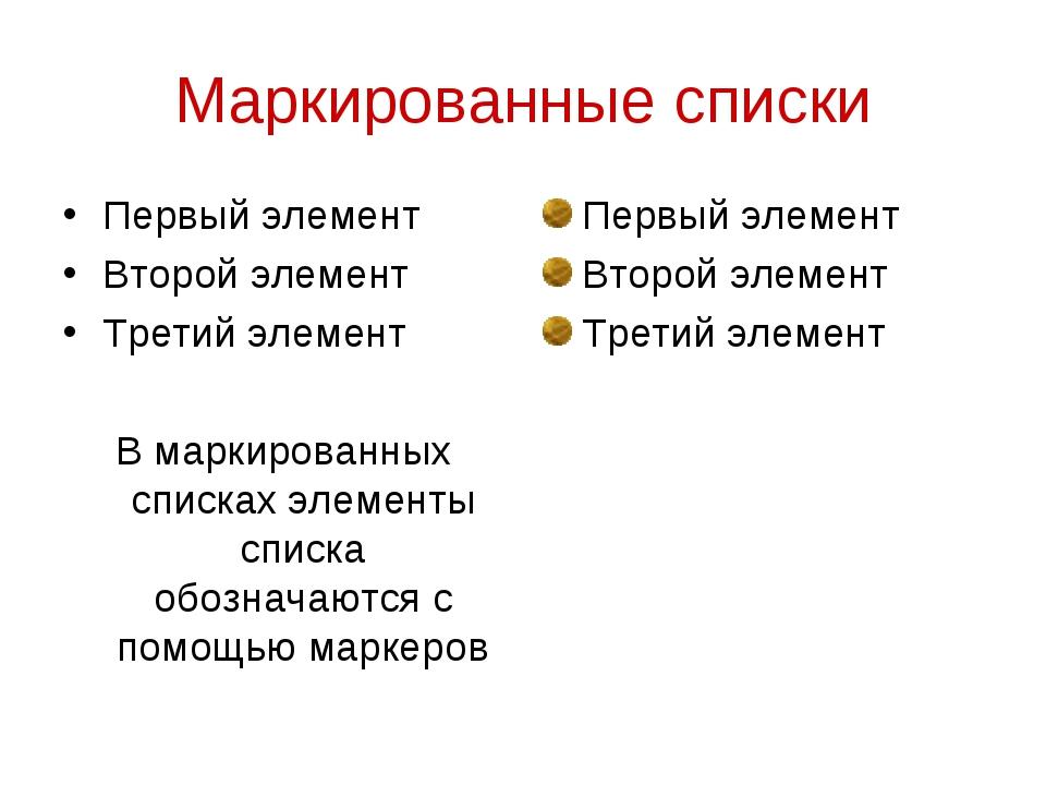 Маркированные списки Первый элемент Второй элемент Третий элемент В маркирова...