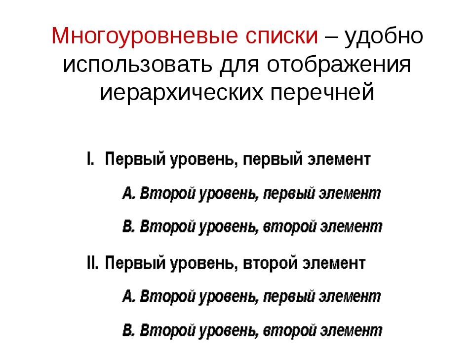 Многоуровневые списки – удобно использовать для отображения иерархических пер...