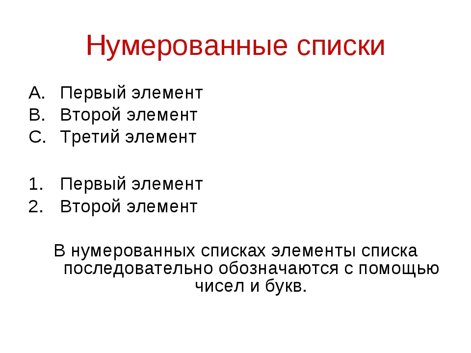 Нумерованные списки Первый элемент Второй элемент Третий элемент Первый элеме...