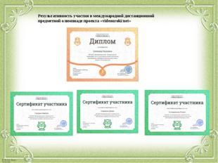 Результативность участия в международной дистанционной предметной олимпиаде п