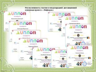 Результативность участия в международной дистанционной олимпиаде проекта « Ин