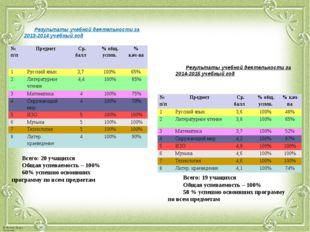 Результаты учебной деятельности за 2013-2014 учебный год Результаты учебной д
