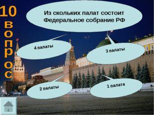 Из скольких палат состоит Федеральное собрание РФ 3 палаты 4 палаты 2 палаты