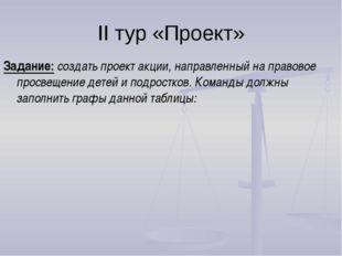 II тур «Проект» Задание: создать проект акции, направленный на правовое просв