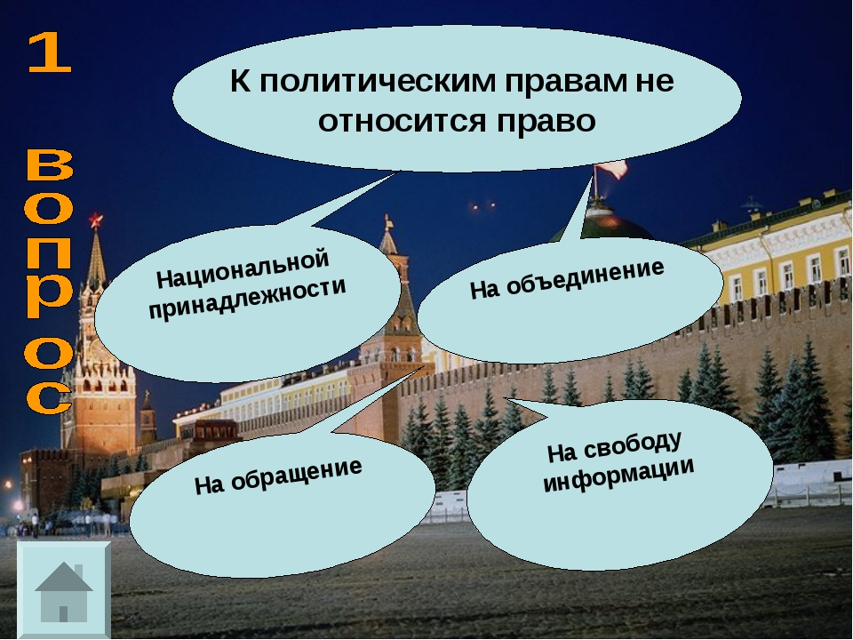 К политическим правам не относится право Национальной принадлежности На обращ...