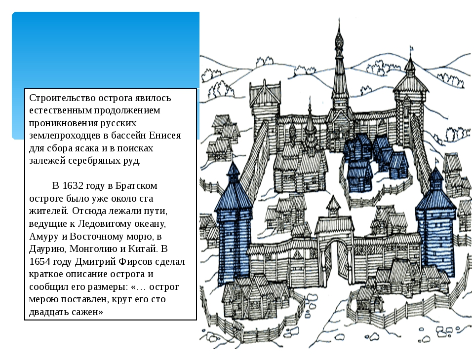 Строительство острога явилось естественным продолжением проникновения русски...