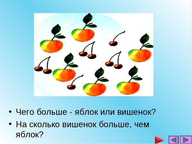 Чего больше - яблок или вишенок? На сколько вишенок больше, чем яблок?...
