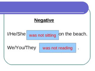 Negative I/He/She (not to sit) on the beach. We/You/They (not to read) . was