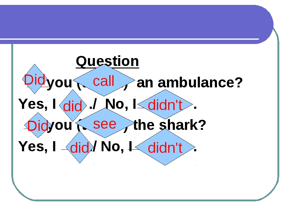 Question you (to call) an ambulance? Yes, I ./ No, I . you (to see) the shar...