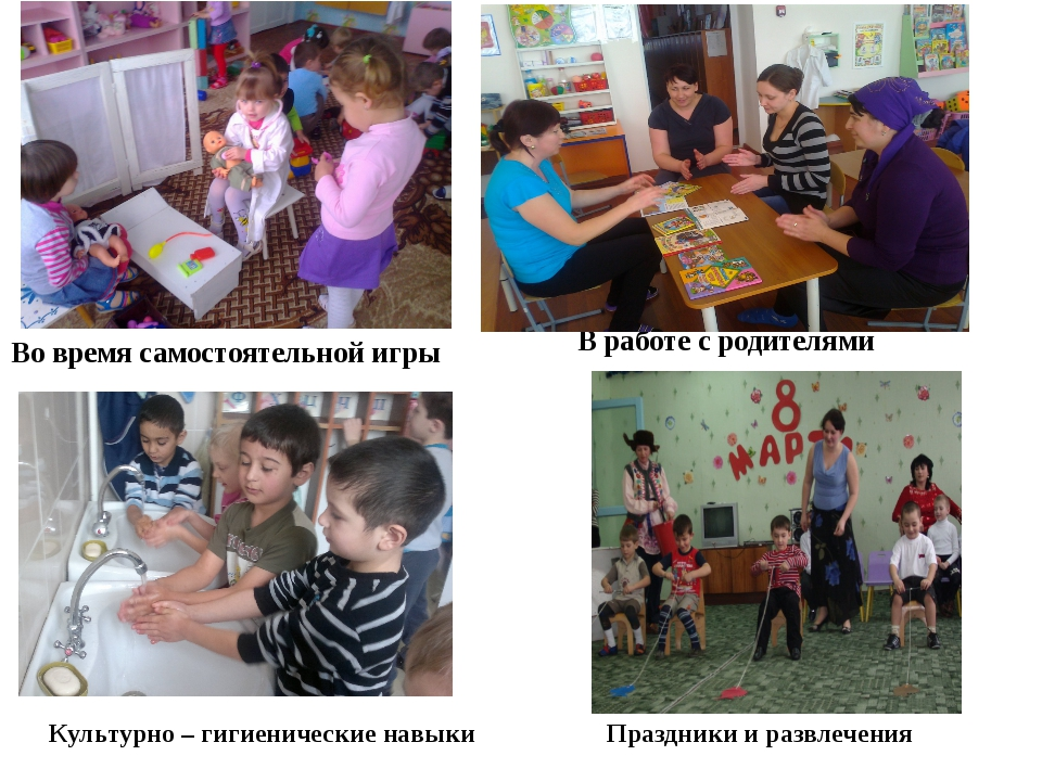 Во время самостоятельной игры В работе с родителями Культурно – гигиенические...