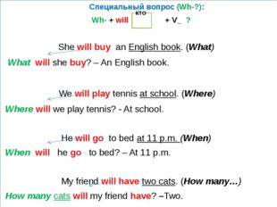 Специальный вопрос (Wh-?): Wh- + will + V_ ? She will buy an English book. (