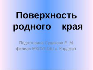 Подготовила Судакова Е. М. филиал МКОУСОШ с. Карджин Поверхность родного края