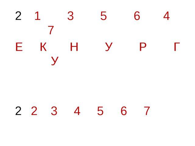 1 3 5 6 4 7 Е К Н У Р Г У 2 3 4 5 6 7
