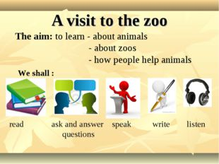 A visit to the zoo The aim: to learn - about animals - about zoos - how peopl