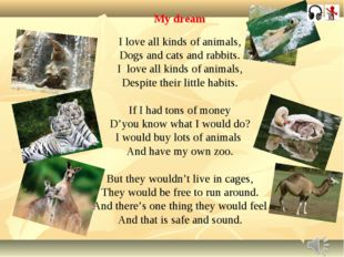 My dream I love all kinds of animals, Dogs and cats and rabbits. I love all k