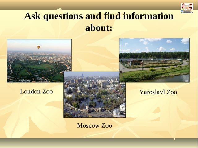 Ask questions and find information about: London Zoo Moscow Zoo Yaroslavl Zoo
