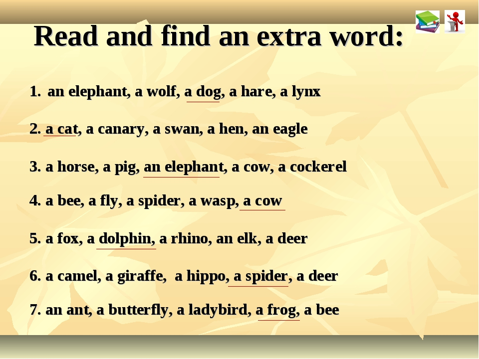 Read and find an extra word: an elephant, a wolf, a dog, a hare, a lynx 2. a...