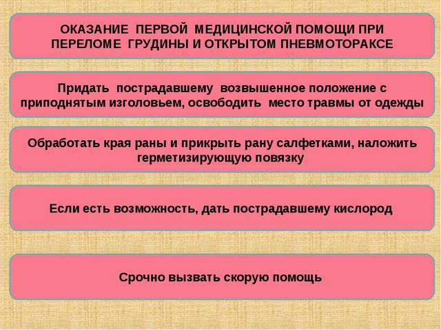 ОКАЗАНИЕ ПЕРВОЙ МЕДИЦИНСКОЙ ПОМОЩИ ПРИ ПЕРЕЛОМЕ ГРУДИНЫ И ОТКРЫТОМ ПНЕВМОТОРА...