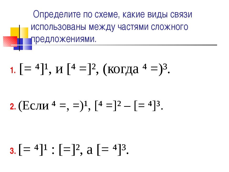 Определите по схеме, какие виды связи использованы между частями сложного пр...
