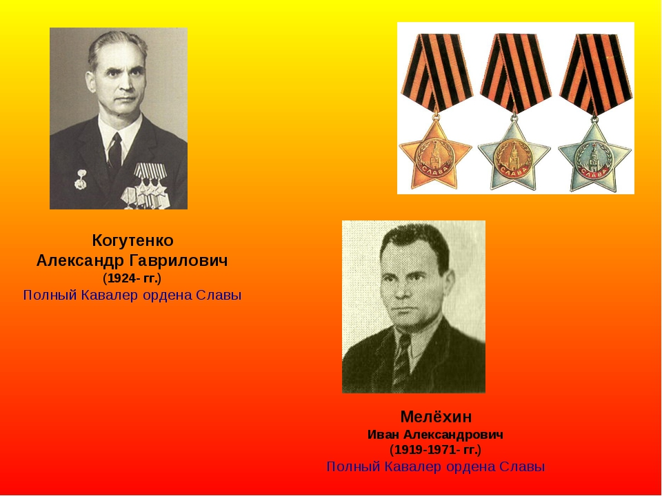 Когутенко Александр Гаврилович (1924- гг.) Полный Кавалер ордена Славы Мелёхи...