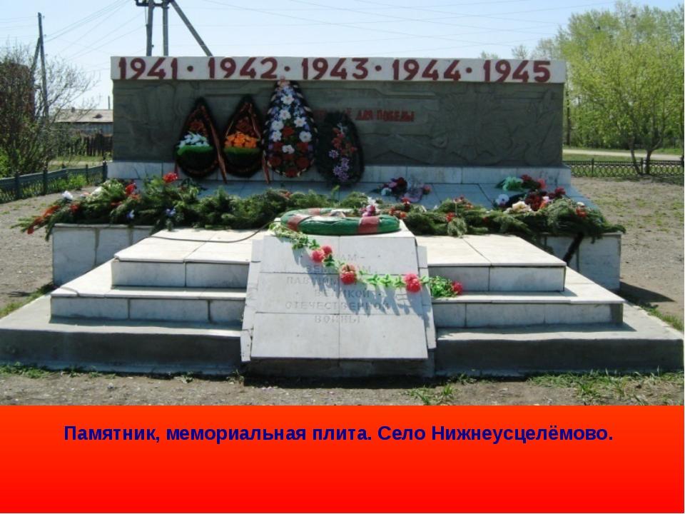Памятник, мемориальная плита. Село Нижнеусцелёмово.
