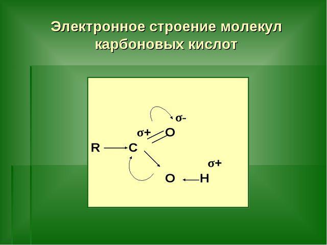 Электронное строение молекул карбоновых кислот σ- σ+ O R C σ+ O H