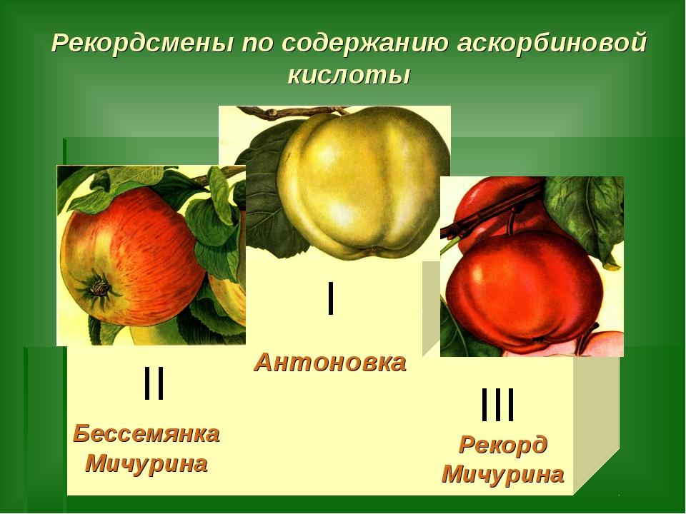 Рекордсмены по содержанию аскорбиновой кислоты Антоновка Бессемянка Мичурина...