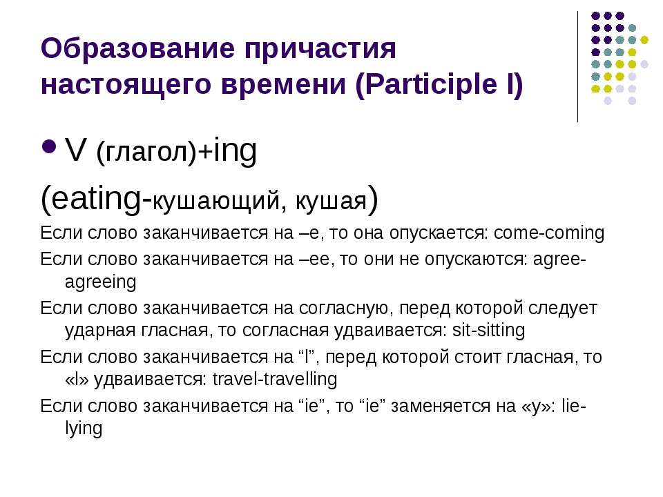 Образование причастия настоящего времени (Participle I) V (глагол)+ing (eatin...